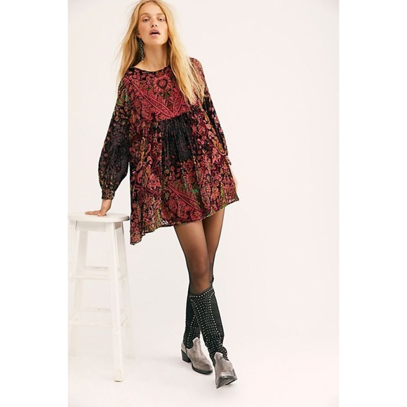 NEW Free People Mirror Mirror Velvet Mini Dress MSRP $168 Black Combo XL